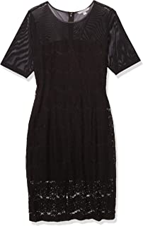 Sharagano Women's Elbow Sleeve Lace Midi Dress with Mesh