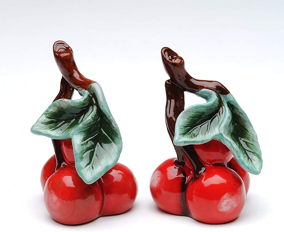 Cosmos Gifts 10183 Fine Ceramic Red Bing Cherry Salt And Pepper Shakers 3 1 8 H