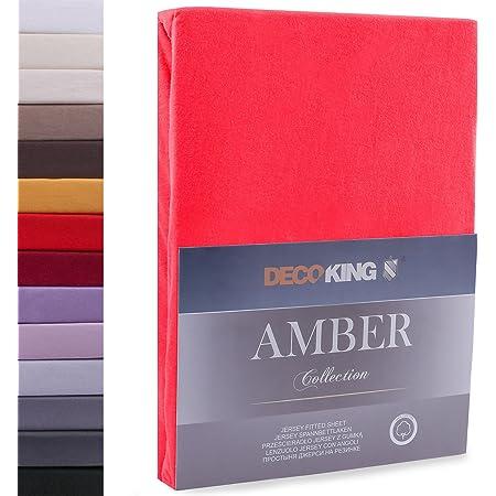 DecoKing 140x200-160x200 cm Sábana Bajera Ajustable 100% Algodón Jersey Rojo Amber Collection