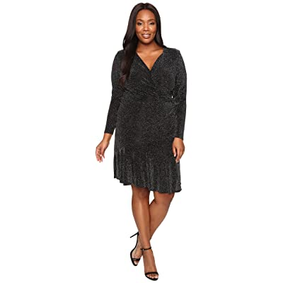 MICHAEL Michael Kors Plus Size Long Sleeve Wrap Flounce Dress (Black) Women