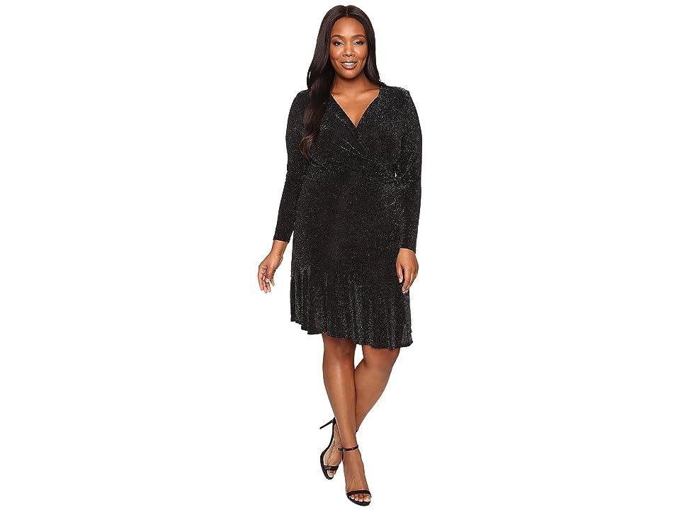 MICHAEL Michael Kors Plus Size Long Sleeve Wrap Flounce Dress (Black) Women
