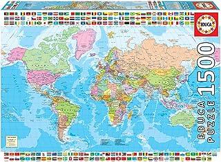 Educa Borras - Genuine Puzzles, Puzzle 1,500 Pieces, Political World Map (18500)