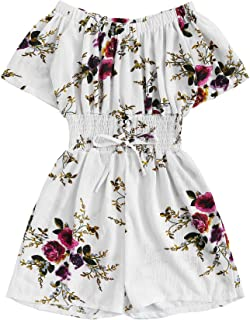 Milumia Women Floral Short Sleeves Romper Jumpsuits Summer High Waisted Boho