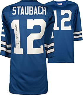 Roger Staubach Dallas Cowboys Autographed Blue Authentic Mitchell & Ness Jersey with