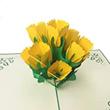 Tulip - 3D Flower Pop Up Greeting Card for All Occasions - Mother's Day, Love, Birthday, Anniversary, Wedding, Loved Ones, Congratulations, Get Well - Fold Flat, Envelope Included (Yellow Tulip)