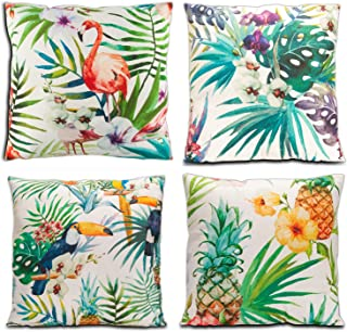 Lauren 4 Pcs Throw Pillow Covers Flamingo Pattern & Tropical Flower Leaves Cotton Cushion Covers 18 X 18 Inch
