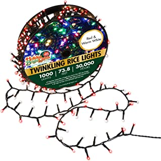 Holiday Bright Lights Red & Warm White Christmas 1000L Twinkling Rice Light Reel, 30,000 Hours of Bright Light, 8 Modes to Choose from, Green Holiday Lights, 74 ft. Long Cord