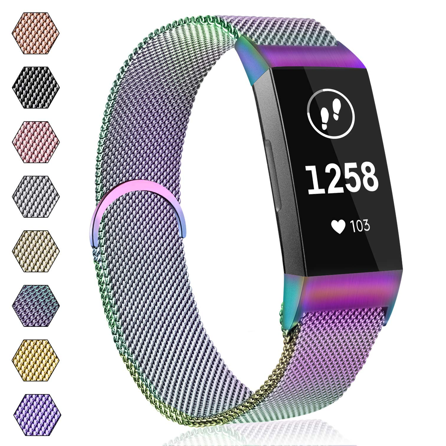 AK Strap Compatible with Fitbit Charge 3/Charge 3 SE, Metal Loop Stainless Steel Adjustable Replacement Bands with Magnetic Closure for Fitbit Charge 3 Small Large Women Men