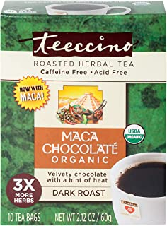 Teeccino Chocolate Chicory Roasted Herbal Tea USDA Organic Caffeine-Free, 10 count (Pack of 6)