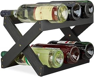Relaxdays Étagère à Vin Bambou, Forme X, 6 bouteilles, Petit et compact, Range-bouteilles pliant, HLP 22x36x20 cm, noir