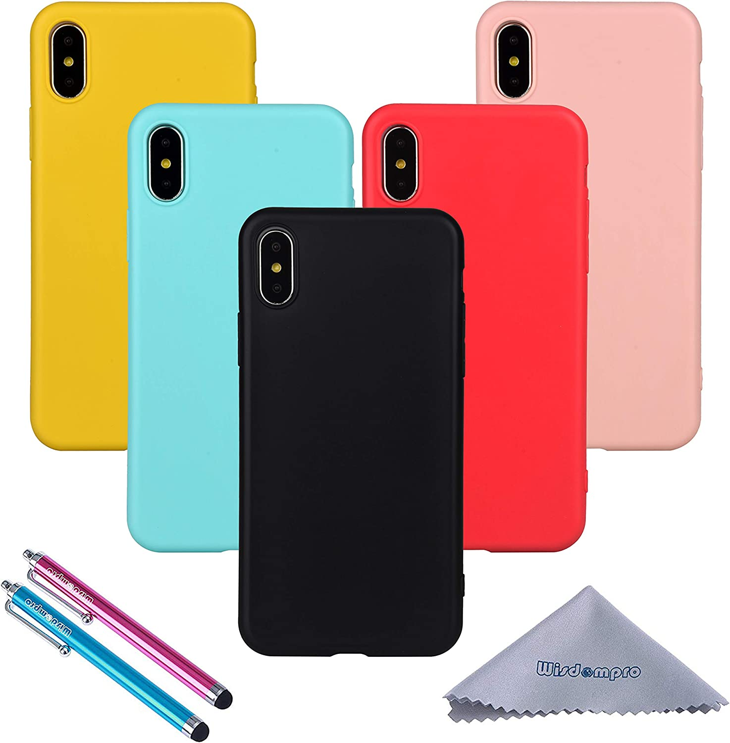 Wisdompro iPhone X Case, iPhone Xs Case, Bundle of 5 Pack Extra Thin Slim Jelly Soft TPU Gel Protective Case Cover for Apple iPhone X XS(Black, Aqua Blue, Naked Skin Pink, Yellow, Red)- Candy Color