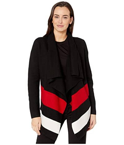 LAUREN Ralph Lauren Open-Front Wool Sweater (Polo Black/Lipstick Red/Mascarpone Cream) Women