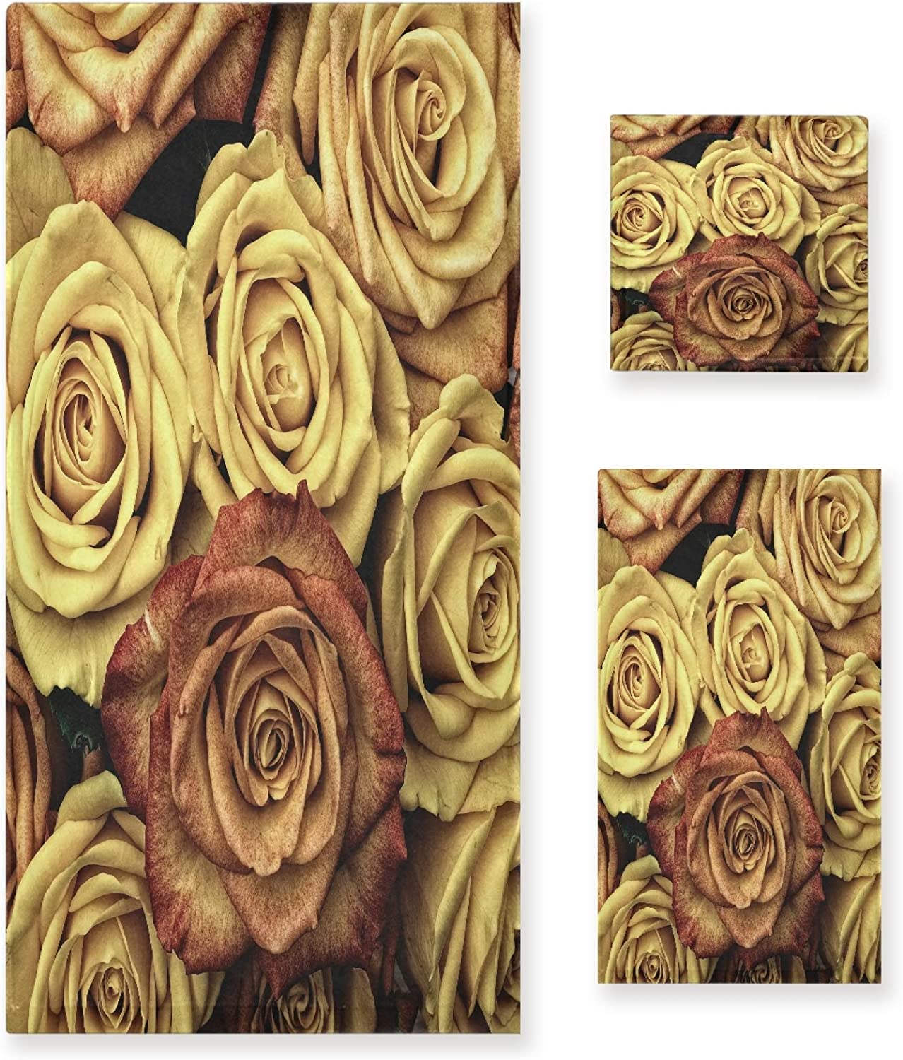 STAYTOP Valentine's Day Memphis Mall Mother's Towel Yellow Flowe Rose Set depot