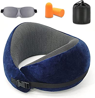 ZENOPHON Travel Pillow Neck Pillow100% Memory Foam Unique Patented Ergonomic Design to Support The Head, Neck, and Chin When Traveling and at Home, Washable