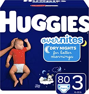 HUGGIES OverNites Diapers, Size 3 (16-28 lb.), 80 ct, Overnight Diapers, Giga Jr Pack (Packaging May Vary)
