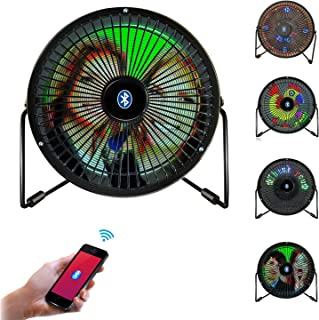 Desk Fan, Portable Mini USB Bluetooth Full Color LED Display Table Desk Fan with Texts, Real-time Clock and DIY Real-time Pictures Display (iOS & Android APP Support)