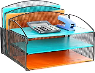 Veesun Desk Organizer,Mesh Desktop File Organizer Letter Paper Tray Holder with 2 Vertical Upright Section and 3 Deep Trays, Black.