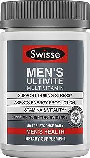 Swisse Premium Ultivite Daily Multivitamin for Men | Energy & Stress Support, Rich in Antioxidant & Minerals | Vitamin A, Vitamin C, Vitamin D, Biotin, Calcium, Zinc & More | 50 Tablets