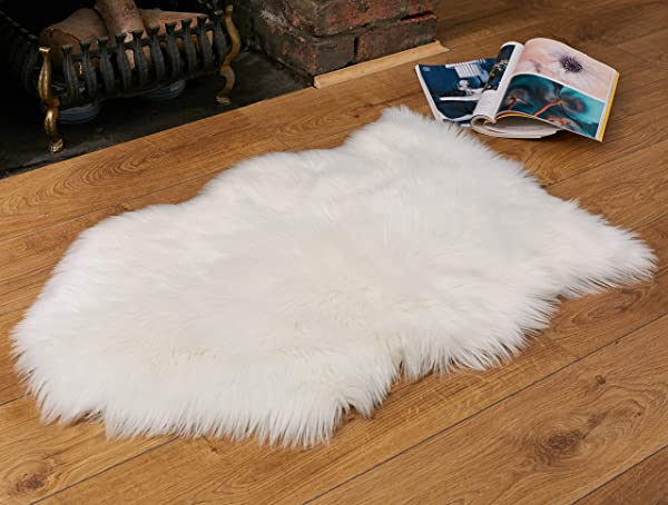 Faux Fur Fluffy Sheepskin Rug For Home Decor Couch Chair Covers Furry Area Rug For Living Room Bedroom Decor Ivory White 2x3 Feet