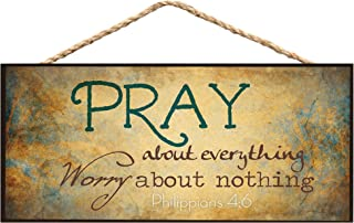 P. Graham Dunn Pray About Everything Worry About Nothing Wooden Sign with Jute Rope Hanger