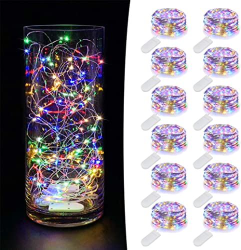 MUMUXI 12 Pack Fairy Lights Battery Operated (Included) 7.2Ft 20 LED Mini Waterproof Fairy String Lights Silver Wire ...