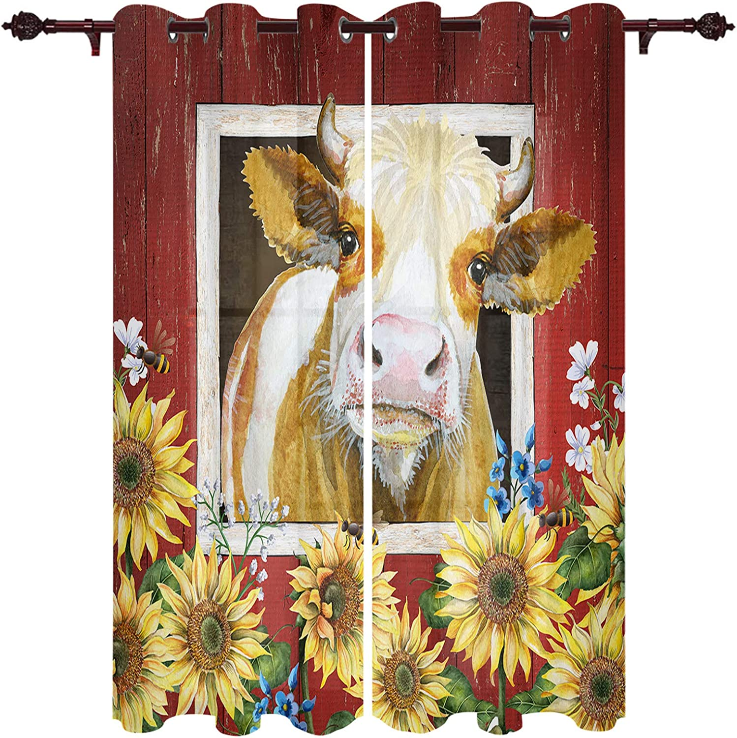 Funny Farmhouse Milk Cow and Curtain 70% OFF Outlet Sunflower Window Treatment Ranking TOP13