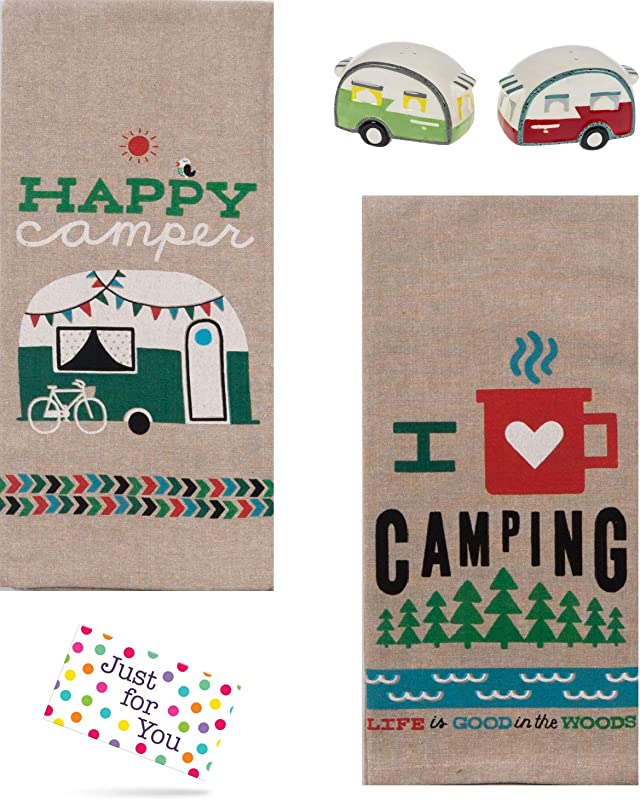 Just 4 U Gifts J4U Happy Camper And I Heart Camping Towels With Teardrop Camper Salt And Pepper Shakers