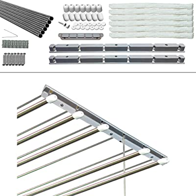 Rainbow Drywell Premium 6 Pipes 3 Feet Stainless Steel Individual Drop Down Railers Ceiling Cloth Dyrer/Clothes Hanger