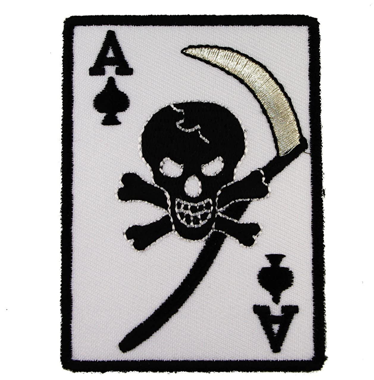 Ace of Spades Scythe Grim Reaper Biker Iron on Embroidered Patch AKPT179