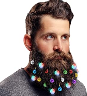 DecoTiny Upgraded Lighting Up Beard Lights Ornaments, 8 Pcs Beard Lights and 12 Pcs Colorful Sounding Jingle Bells, Great Christmas and New Year Gift for Husband-Battery Replaceable