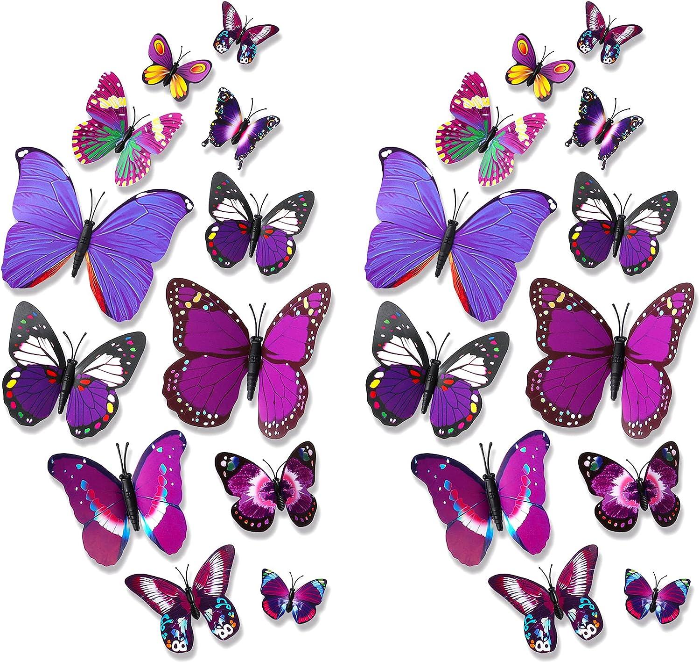 VOCOOL 24PCS 3D Butterfly Wall Stickers Butterfly Wall Decor, Self-Adhesive Butterfly Wall Decals Removable Butterflies Wall Decorations for Kids Bedroom Nursery Party Wedding Decor DIY Gift, Purple