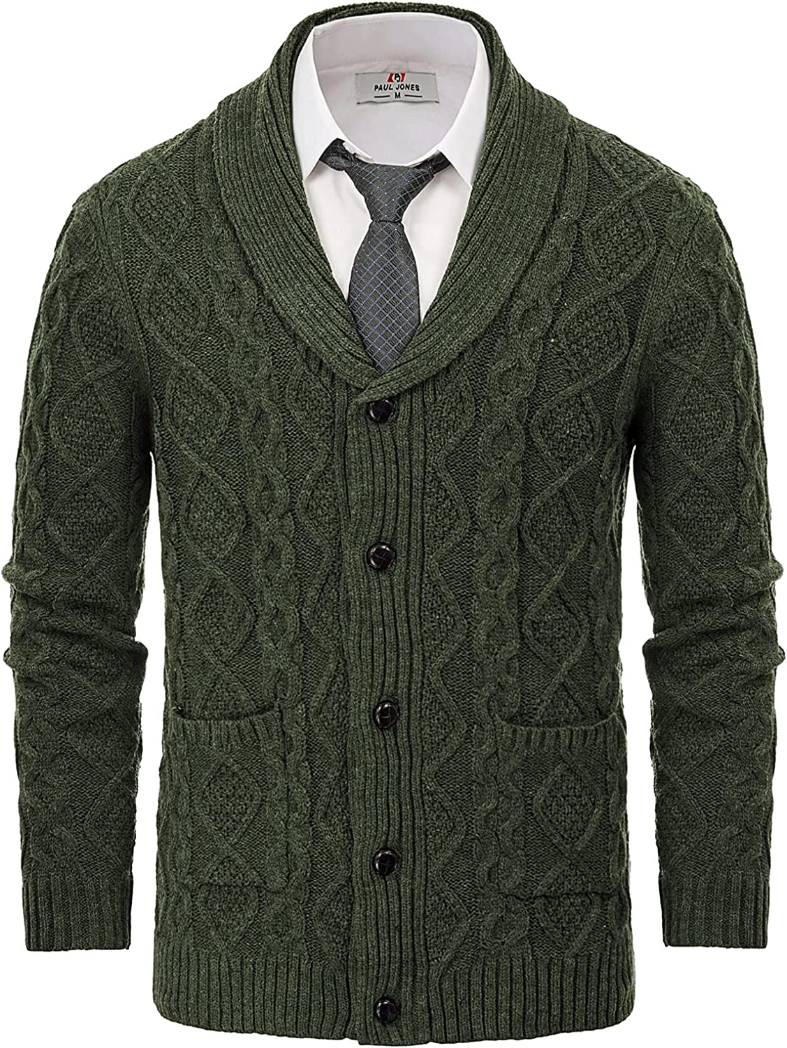 Mens Casual Shawl Collar Cardigan Button Down Thick Knit Sweater with Pockets