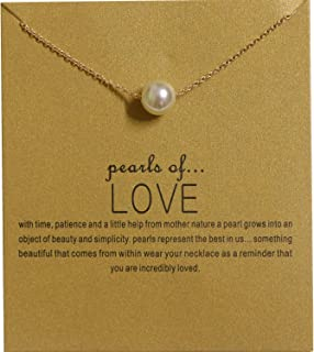 Clavicle Necklace with Blessing Gift Card, Small Dainty Pearl Pendant Chain, Classy Costume Choker Jewelry Favors