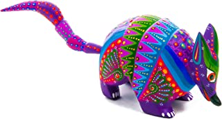 Purple Armadillo Handcrafted Oaxacan Alebrije Wood Carving Mexican Folk Art Sculpture Painting