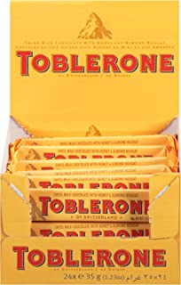 Toblerone Swiss Milk Chocolate with Honey & Almond Nougat, 1.23 Ounce Bar (Pack of 24)