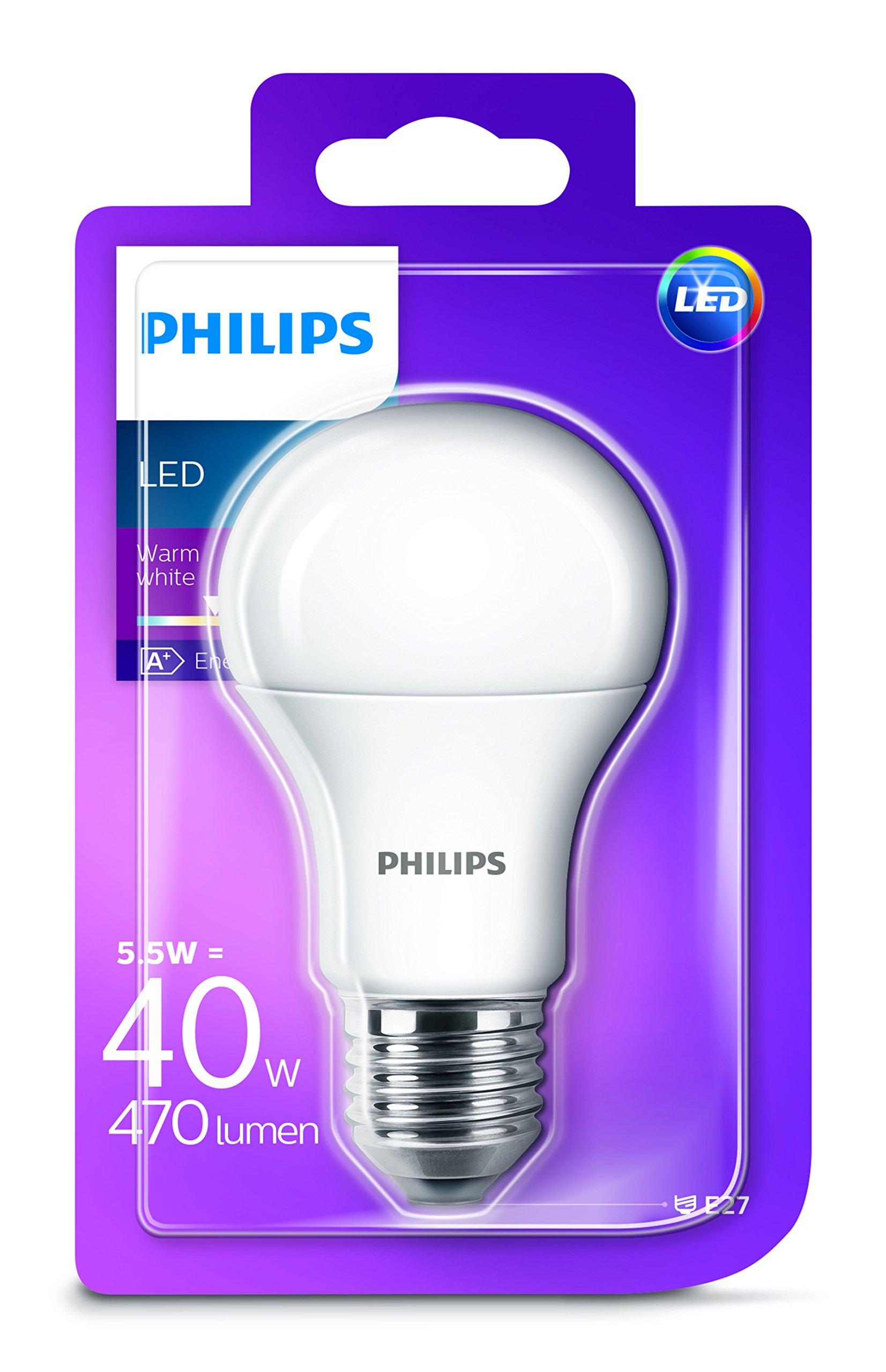 Philips LED Glühbirne mit E27 Fassung, Synthetisch, E27, 5.5 W, weiß, Einzelpackung