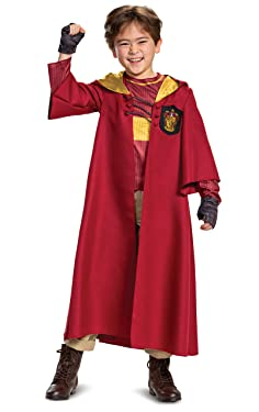 Harry Potter Quidditch Gryffindor Deluxe Children's Costume, Red & Gold, Kids Size Large (10-12)