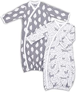 2 Pk 100% Organic Cotton Kimono Gowns Boy or Girl, Easy Change Snaps and Built in Mitts, Feathers and Forest Animals