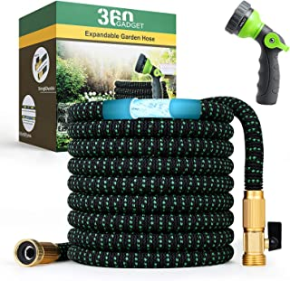 """360Gadget Expandable and Flexible Garden Hose 50 ft Water Hose with 3/4"""" Brass Fittings and 8 Function Sprayer Nozzle, Ret..."""