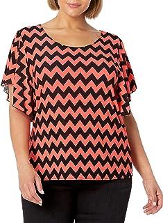 Star Vixen Women's Plus-Size Flutter-Sleeve Top