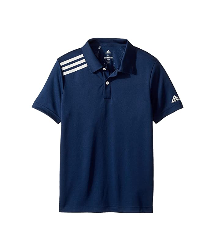 adidas Golf Kids  3 Stripe Polo (Big Kids) (Collegiate Navy) Boys Short Sleeve Pullover
