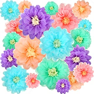 Gejoy 20 Pieces Paper Flower Tissue Paper Chrysanth Flowers DIY Crafting for Wedding Backdrop Nursery Wall Decoration (Color Set 2)