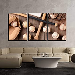 wall26 - 3 Piece Canvas Wall Art - Baseball Equipment on a Rustic Wood Surface - Modern Home Decor Stretched and Framed Ready to Hang - 24