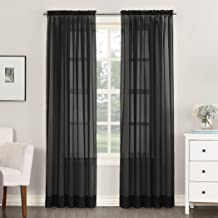 "No. 918 Emily Sheer Voile Rod Pocket Curtain Panel, 59"" x 95"", Black"