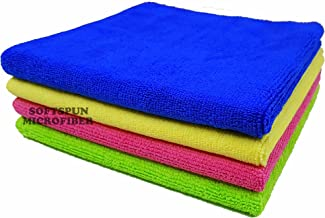 SOFTSPUN Microfiber Cleaning Cloths, 20x30cms 4 pcs Towel Set 340 GSM Multi-color. Highly Absorbent, Lint and Streak Free, Multipurpose Wash Cloth for Kitchen, Car, Window, Stainless Steel Silverware.