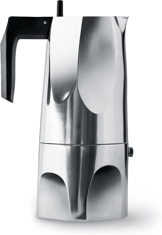 Alessi Ossidiana MT18/6 - Cafetera para Café Exprés de Diseño en Aluminio Fundido, 6 Tazas
