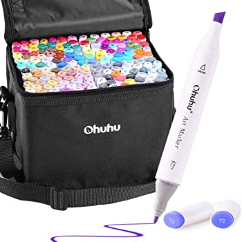white 60 Colors Twin Marker Pens-Alcohol Based Art Markers Broad and Fine Point Tip for Artist Student Drawing Sketching