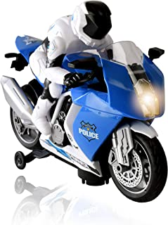 WolVol Cool Bump and Go Police Motorcycle 2 Wheeled Vehicle Toy with Music & Bright Colored Visuals for Kids Boys & Girls