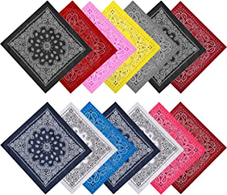 NEWITIN 14 Pieces Multi-Purpose Bandanas Print Head Wrap Scarf Wristband Bandanas for Women and Men