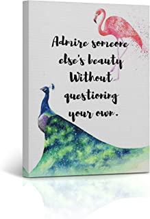 Buy4Wall Flamingo Wall Art Canvas Print Quote Says Admire Someone Else's Beauty Without Questioning Your own Decorative Home Decor Artwork Framed - Ready to Hang -%100 Handmade in The USA 22x15